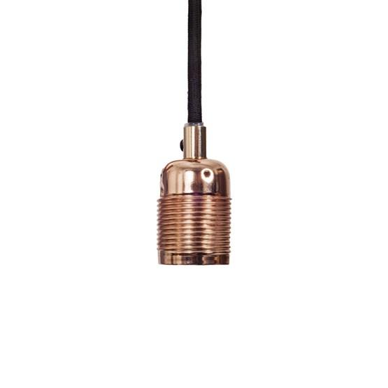 Lampa Frama E27 Koppar, svart textilssladd